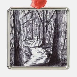 forest path ink landscape drawing metal ornament