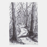 forest path ink landscape drawing towel