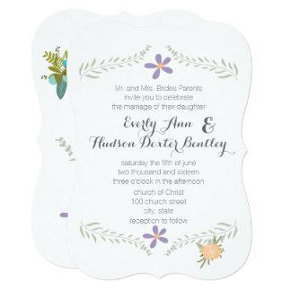 Forest Peach Lilac Aqua Floral Garland Wedding Invitation