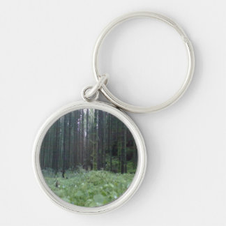 Forest photo Silver-Colored round keychain