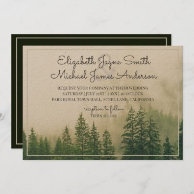 Forest Pine Trees Mountains Wedding Invitations