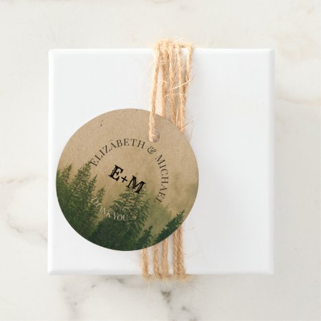 Forest Pine Trees Rustic Favor Packaging Tags