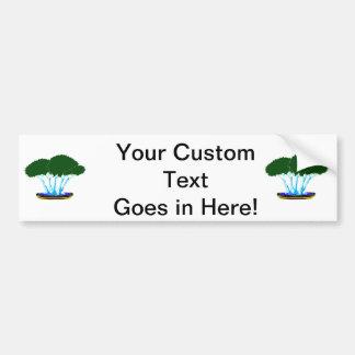 forest planting bonsai graphic green invert car bumper sticker