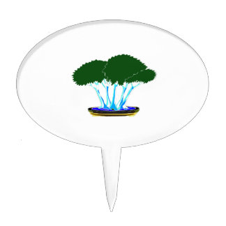 forest planting bonsai graphic green invert cake toppers