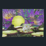 "Forest Pond and Tennis Kitchen Towel<br><div class=""desc"">A tennis ball is raising on pond surface.</div>"