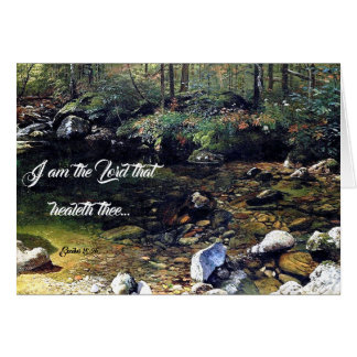 Forest Pond Trees Wildflowers God Heals Card