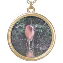 Forest Pond with White Tailed Deer Necklace