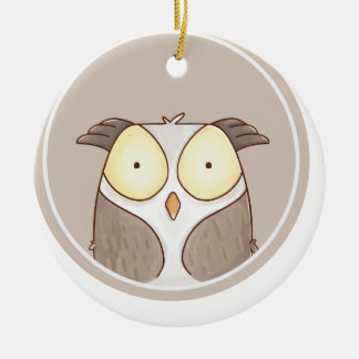 Forest portrait owl ceramic ornament