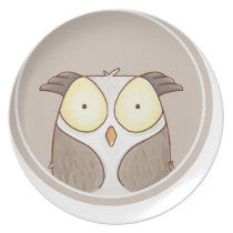Forest portrait owl melamine plate