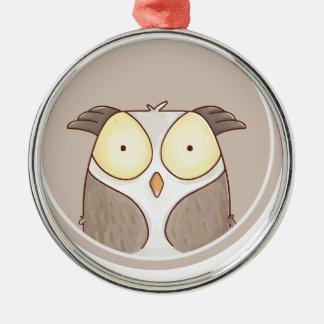 Forest portrait owl metal ornament
