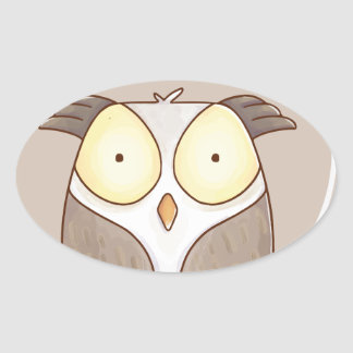Forest portrait owl oval sticker