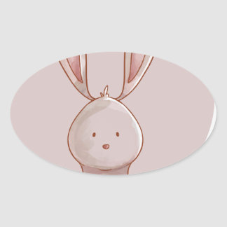 Forest portrait rabbit oval sticker