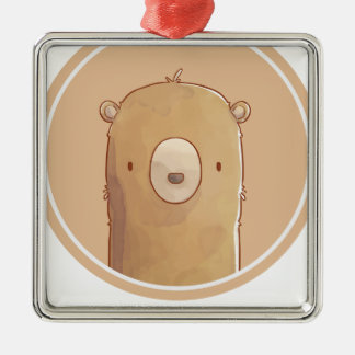 Forest portrait to bear metal ornament