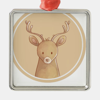 Forest portrait to deer metal ornament