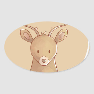 Forest portrait to deer oval sticker