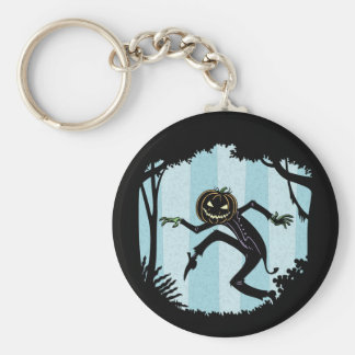 Forest Punkin Man Basic Round Button Keychain