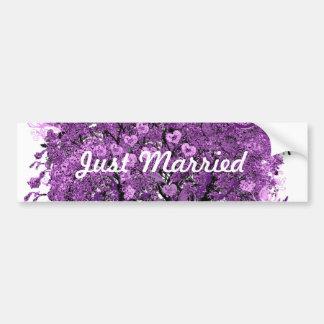 Forest Purple Heart Leaf Tree Wedding Bumper Sticker
