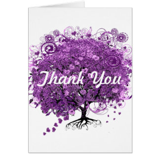 Forest Purple Heart Leaf Tree Wedding Card