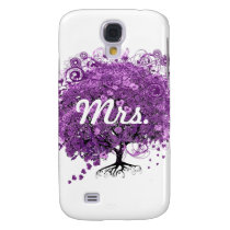 Forest Purple Heart Leaf Tree Wedding Galaxy S4 Cover