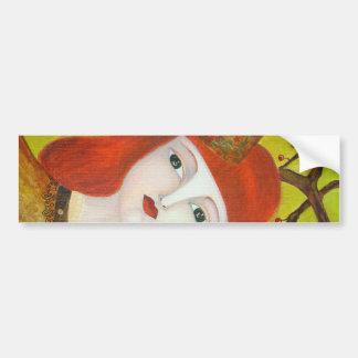 Forest Queen. Fairytale girl portrait art painting Bumper Sticker