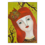Forest Queen. Fairytale girl portrait art painting Card