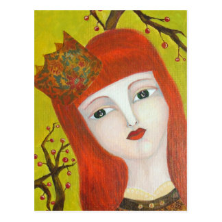 Forest Queen. Fairytale girl portrait art painting Postcard