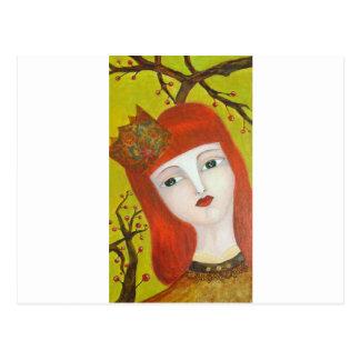 Forest Queen. Fairytale girl portrait art painting Postcard