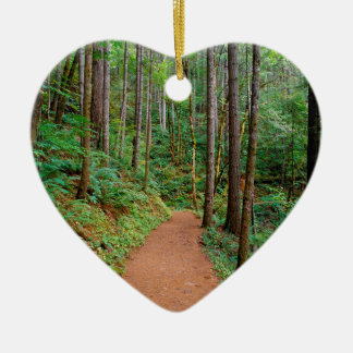 Forest Quiet Trail Columbia River Gorge Double-Sided Heart Ceramic Christmas Ornament
