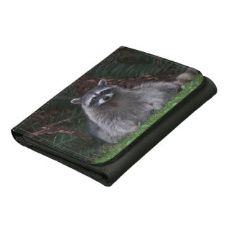Forest Raccoon Photo Leather Trifold Wallets