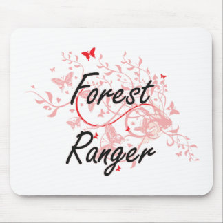 Forest Ranger Artistic Job Design with Butterflies Mouse Pad
