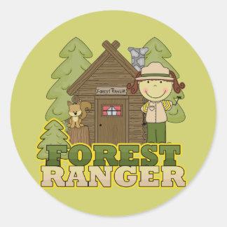 Forest Ranger - Brunette Girl Classic Round Sticker