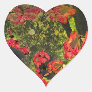 Forest , red flowers heart sticker