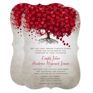 Forest Red Heart Leaf Tree Wedding Invites