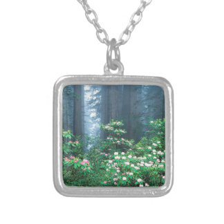 Forest Redwoods Blooming Rhododendrons Custom Necklace