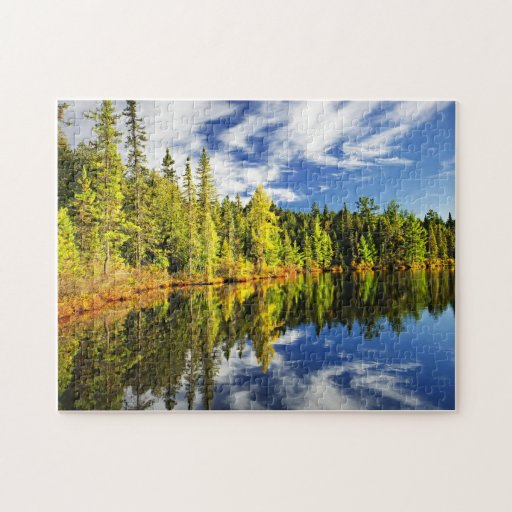 Forest reflecting in lake jigsaw puzzle