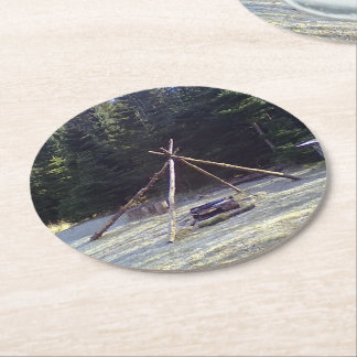 Forest resting place stord round paper coaster