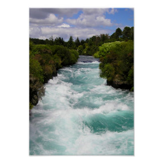 Forest River Wild Nature Waves Water Green Poster