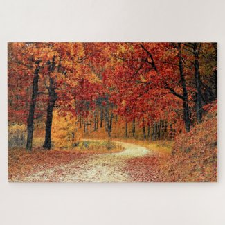 Forest Road - Fall Jigsaw Puzzle
