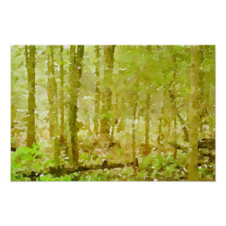 Forest Scene Abstract Watercolor Painting Poster
