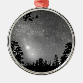Forest Silhouettes Constellation Astronomy Gazing Round Metal Christmas Ornament