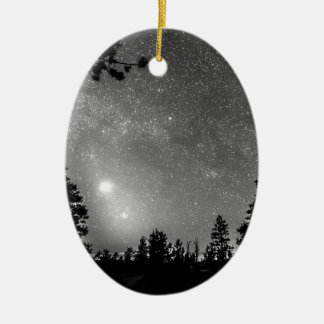 Forest Silhouettes Constellation Astronomy Gazing Double-Sided Oval Ceramic Christmas Ornament