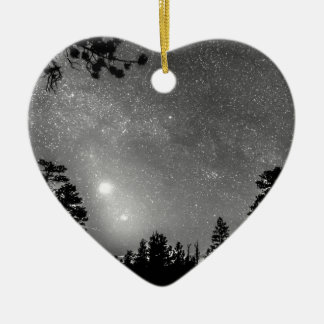 Forest Silhouettes Constellation Astronomy Gazing Double-Sided Heart Ceramic Christmas Ornament