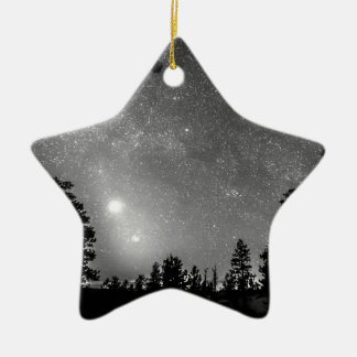 Forest Silhouettes Constellation Astronomy Gazing Double-Sided Star Ceramic Christmas Ornament