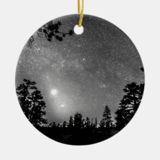 Forest Silhouettes Constellation Astronomy Gazing Double-Sided Ceramic Round Christmas Ornament