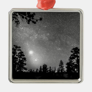 Forest Silhouettes Constellation Astronomy Gazing Square Metal Christmas Ornament