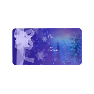 Forest Snow Flakes Christmas tags Address Label