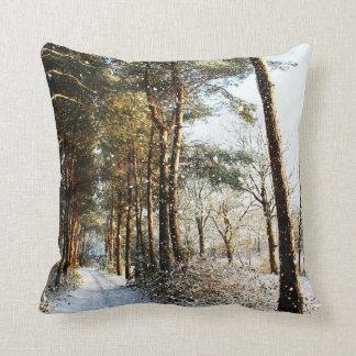 Forest Snow Scene Throw Pillow