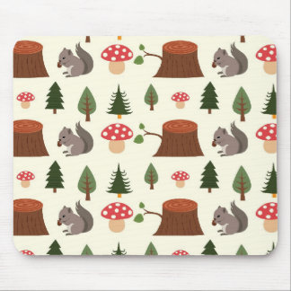 Forest Squirrel Pattern Mouse Pad