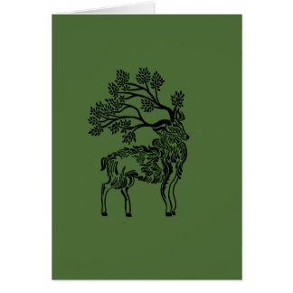 Forest Stag With Green Background Card