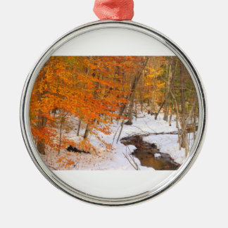 Forest Stream and Snow Foliage Christmas Ornament